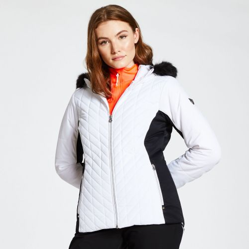 Women's Icebloom Faux Fur Trim Luxe Ski Jacket White